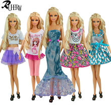 5 Pcs / lot New Doll Accessories lifestyle Suit Slim evening Dress Clothes For Barbie doll Festival Gift For Girl(China)