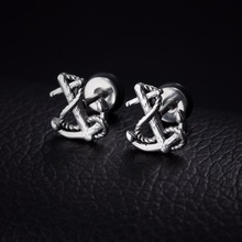 Screw Back Vintage Anchor Stud Earrings in Stainless Steel(China)