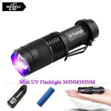 Mini cree uv led flashlight torch 365nm blacklight wavelength 395nm violet light uv black light torcia linterna