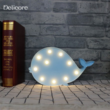 DELICORE LED Night Light Blue Whale Battery Powered Children Bedroom Decoration Lighting Wall Lamp S154-B(China)