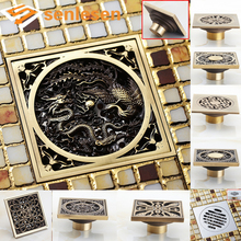 New Arrival Antique Brass Bathroom Square Floor Drain Waste Drainer Multiple Types Free Shipping Bathroom Accessories(China)