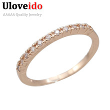 Women Wedding Rings Fianit Rose Gold Color Cubic Zirconia Engagement Ring Female Jewelry Anillos Gift Jewellery Uloveido J029
