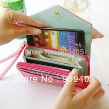 Women's Multi Propose envelope Wallet Purse for Galaxy S2 S3 iphone 4 4S 5 Case,more colors-free Shipping 100pcs/lot(China)