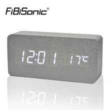 FiBiSonic Wooden Alarm Clock With Temperature Sound Control Led Digital Clock Electronic Table Alarm Clock