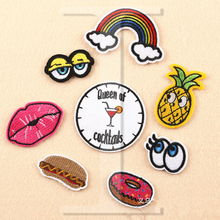 1 PCS Lips Fruit Patches for Clothing DIY Stripes parches Iron on Embroidered Clothes Eye Stickers Custom Hamburg Badges