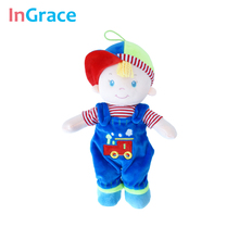 unique gift doll for kids boy with train printed bibs cute hat blue pretty boy dolls lifelike boys accompany toys easy took off(China)