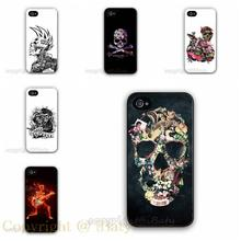 Flower Pattern Skull Case Hard Plastic Cell Phone Cover for Apple iPhone 5 5S 5G (Black/White Border) 2015 Hot Selling