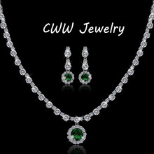 Modern Design Gorgeous Round White CZ Created Diamond And Green Crystal Rhinestone Necklace Earrings Jewelry Sets For Women T071