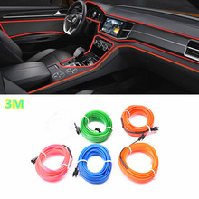 Car-Styling 3m Car Interior Light Ambient Light Cold Light Line DIY Decorative Dash board