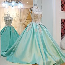 High End 2017 Mint Green Wedding Dresses Vintage Bridal Gowns Appliques Beads Bow Sexy Backless Robe De Mariage High Collar