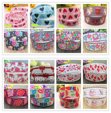 Free shipping Pink blue heart printed ribbon Valentine Grosgrain Ribbon DIY hairbows accessory kids Valentine gift package wrap(China)