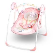 Free shipping Pink luxury baby cradle swing electric baby rocking chair chaise lounge cradle seat rotating baby bouncer swing(China)