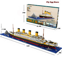 1860pcs Blocks Titanic large scale Boat toy for adult boy girl Hobbies educational building blocks toy ship Model Kits(China)