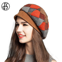 FS Winter Fashion Womens Green Red Orange Plaid Beret Hat Elegant Warm Wool Berets Casual Lady French Artist Baret Hats Boina(China)