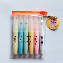 P53 Set of 6 Cute Lovely Panda Rilakkuma Mini Highlighter Paint Marker Pen Drawing Liquid Chalk Stationery School Office Supply(China)
