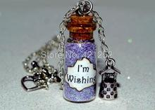 12pcs Snow White I'm Wishing Magical glass Bottle Necklace with a Wishing Well Charm  Inspired necklace
