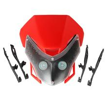Partol Red ABS Plastic Shell Motorcycle Headlight Fairing Kit As Accent Light For Honda Yamaha Suzuki Kawasaki KTM Dirt Bike