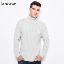 New Autumn Winter Fashion Clothing Turtleneck Men Knitted Sweater Trend Slim Fit Pullover Men 100% Cotton Jacquard Sweater Men(China)