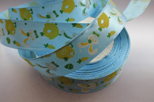 "Free Shipping 25yards 1"" (25mm) width, Lovely rabbit  light blue colour Satin ribbon, DIY hair bow accessories, gift package"