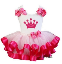 Girls Hot Pink Satin Trimmed Tutu with Birthday Girl Crown Tank Top Pettitop 2 pcs Set Outfits 1-6Y