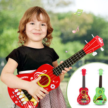 Cartoon Simulation Ukulele Mini Electronic Guitar Kids Musical Instrument Toys 4 Strings Educational Play Toy Gift for Children(China)