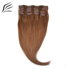 jeedou Straight Synthetic Clip In Hair Extensions 16inch 40cm 7Pcs 120g Real Natural Hair Black Blond 12Color Women's Hairpieces