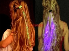 100pcs/lot DHL Free Shipping Wholesale Luminous Light Up LED Hair Flash Braid Hair Glow Decoration Event Party Supplies
