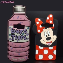 3D Cartoon Mickey Minnie Mouse Water Bottle Boys Tears Silicone Phone Case For Samsung Galaxy Core Prime G360/G360H/J1/J1 Ace(China)