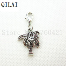 20pcs/lot Silver Palm Tree Dangle Charms Lobster Clasp Pendant For Floating Glass Locket Necklace(China)