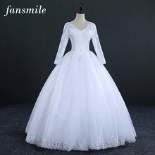 Fansmile Real Photo Vintage Lace Up Ball Wedding Dress Long Sleeve 2017 Bridal Dresses Plus Size Wedding Gowns Free Shipping