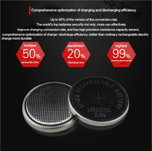 High quality NEW 50PCSX LIR2032 3.6V button cell battery LIR2032 rechargeable battery can replace the CR2032 battery