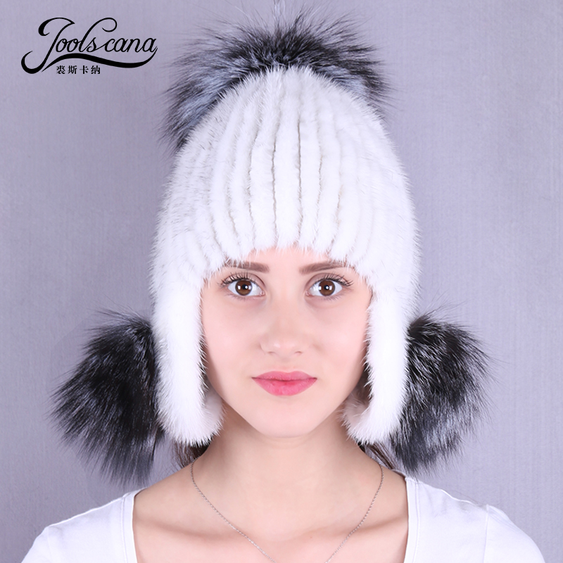 Joolscana winter women hat with fur pompom natural mink fur hat new brand winter beanie with big fox pompom cap