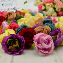 10 pcs Blooming Peony Artificial Flower Fabric for Wedding Banquet Shoes Hats Silk Flowers Accessories Home Decoration of The Ma