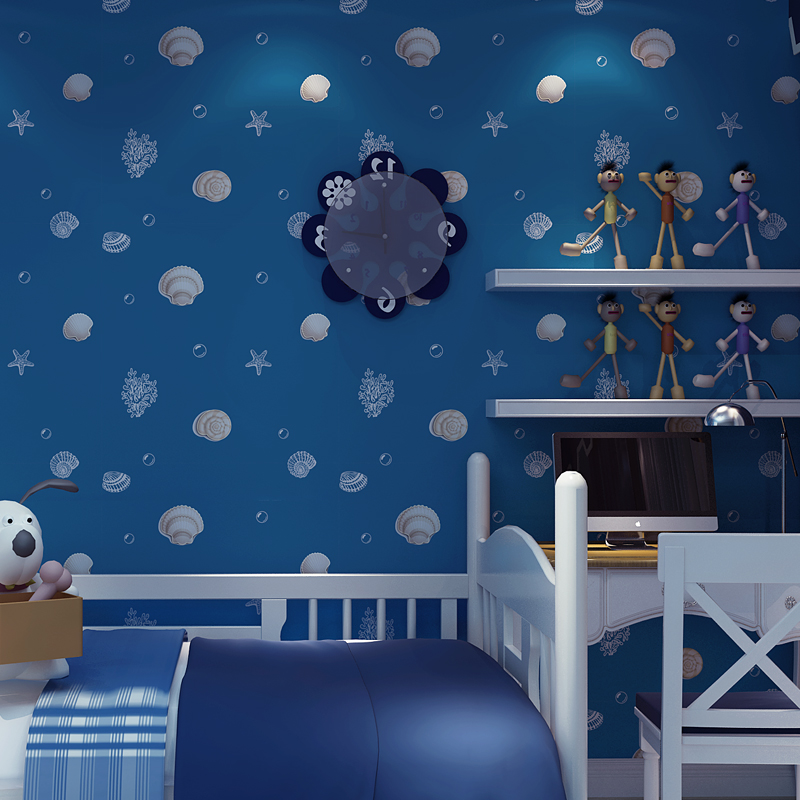 Kid room non-woven wallpaper Shells, boys and girls bedroom background<br><br>Aliexpress