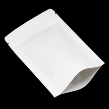 50Pcs/Lot White Stand Up Kraft Paper Valve Zipper Top Storage Doypack Packaging Pouches Bag For Coffee Dried Beaf Food Storage