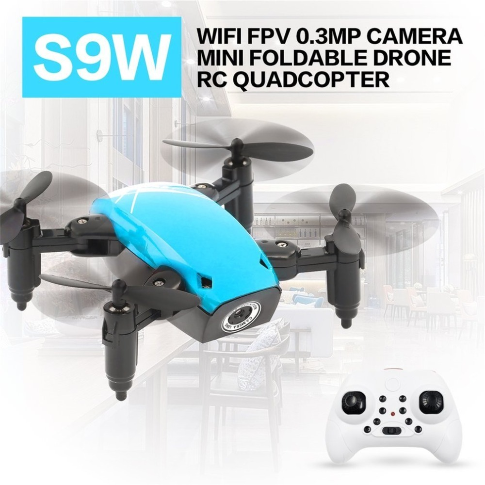 Drone-Pocket Foldable Mini Rc-Helicopter WIFI S9W with FPV 360-Degree Flip title=