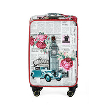 Print suitcase hot sales women Flower PU leather portable trolley case, new style, travel luggage, lock, mute,Spinner Wheels 16(China)