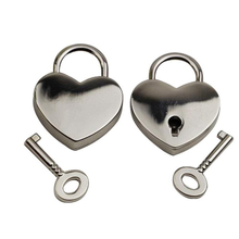Small Heart Shape Padlock Tiny Luggage Shackle Suitcase Drawer Cabinet Gate Lock Security Keys For Gifts Silver Free Shipping(China)