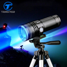 15W strong light fishing flashlamp Blue and white yellow light fishing lamps Liquid crystal display zoomable flashlight(China)