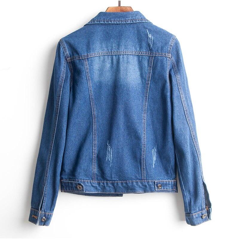 e6b1f04d9491e Plus Size Ripped Hole Cropped Jean Jacket 4Xl 5Xl Light Blue Bomber Short  Denim Jackets Jaqueta Long Sleeve Casual Jeans Coat. 1 2 ...