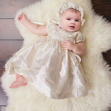 White Ivory Long Christening Dresses For Baby Girl With Appliques Short Sleeves Baptism Gown Cheap Kid First Communication Dress(China)