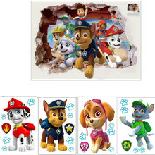 3D Paw Patrol Dogs Cartoon Wall Stickers TV Wall Decals Adesivos De Paredes Animal Mural Creative DIY For Kids Rooms Decor(China)
