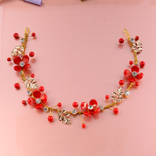 Bride 's Headdress Red Hairband Set Handmade Marriage Hair Ornament Chinese Hairbands+Earrings Total 3pcs
