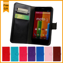 Luxury Flip PU Leather Case For Motorola Moto G XT1028 xt1032 Stand Phone Cover Back Cases with wallet and card holder