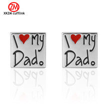 Men Gift I Love My Dad Cufflinks Wholesale&retail Silver Color Copper Material Novelty Father Day Design(China)