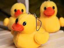 10PCS Cute Little 7CM Duck Plush , Stuffed Toy Doll ; Gift String Pendant Key Chain Toy Doll , Wedding Bouquet Plush Toy Dolls(China)