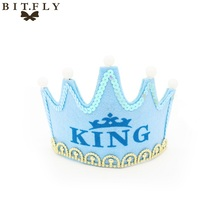 BITFLY Birthday LED Hat King Princess Luminous Crown Adult Children Party Dress Up Non-woven Fabrics Cap Christmas Event Decor(China)