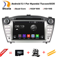 "HD 7"" 1024*600 ROM 16GB Quad Core Android 5.1.1 Auto PC Android 5.1 Car DVD GPS For Hyundai Tucson IX35 Stereo Radio 2009-2012(China)"