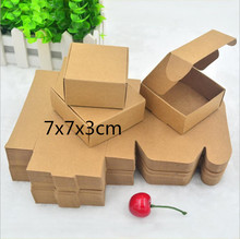 7X7x3CM 100pcs/lot Brown Kraft Small paper Box, Carton Box for packing, Handmade Soap Boxes, Storage(China)