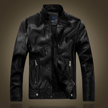 leather jacket men autumn and winter motorcycle leather jacket male black and brown Plus velvet warm jackets 8866(China)